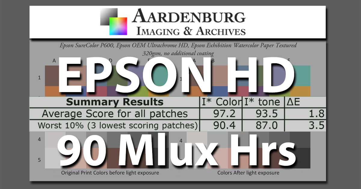 Epson HD Inkset P600 90Mlux Hr. Lightfade Test Results Now Available